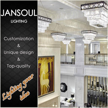 best new art deco 4 tiered rectangular clear glass modern crystal chandeliers italian design ceiling lamp