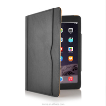 Black Tan Leather Wallet Smart Cover Case For Apple iPad Air 2 With Full Sleep Wake Function
