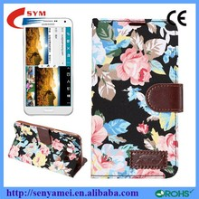 2015 Flowers Design Top PU Leather Flip Case For Samsung Galaxy E7 Cell Phone