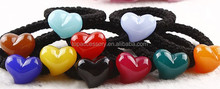 Black Elastic with Colorful Resin Heart Hair Rubber Band