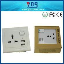 Euro/UK/United Kingdom Twins USB Wall Switch Socket 230V 13A 5v 2a 5v 2.1a metal finshined with high polishing