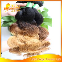 Best selling #1B/4/27 grade 6A 100% brazilian human hair three tone body wave ombre hair weaves