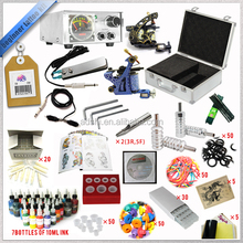 Professional Complete 2 machines guns Tattoo kit, Beginning Set with inks power supply