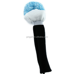 hot sale 1pc knitted golf club head cover for driver big size black and white with blue wool ball knitted head cover
