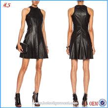 Fashion Ladies Dress Names Fit And Flare Black Leather Dress 100% Genuine Lambskin Leather Mini Dresses