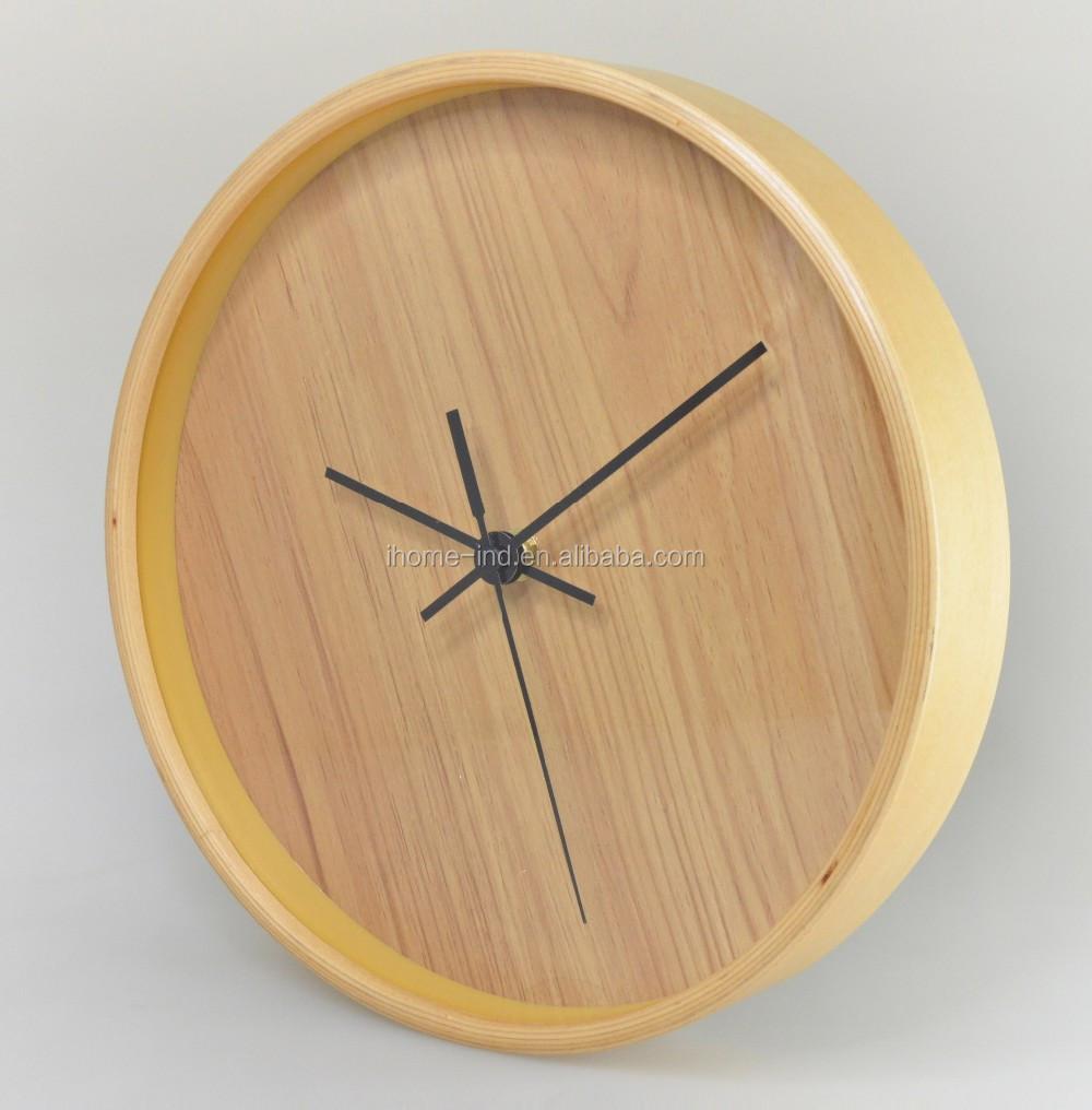 Decor thuis hout wandklokken 12 inch Log kleur houten wandklok ...