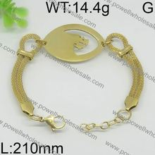 High class fancy design gold leather bracelet with gold magnetic clasp