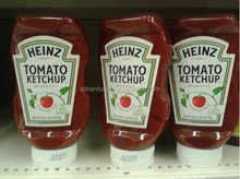 Canned tomato ketchup in glass bottle