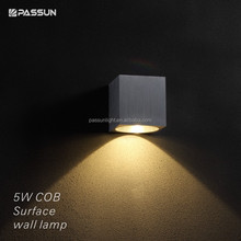square led wall light COB 5w 500lm led wall light brushed silver
