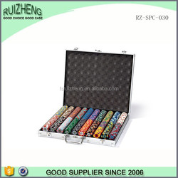 Professional oem silver abs 1000 poker chip show case aluminum case