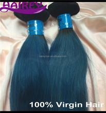 High quality! 1b- bule straight double weft virgin brazilian ombre color 100% human hair weft