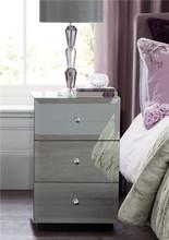silver glass mirrored nightstand