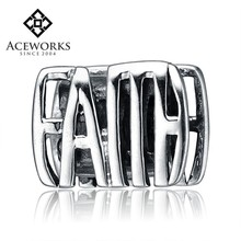 Wholesale 925 Silver Charm Beads s Engraved Word Faith