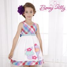 Little Fairy Fashion Grid Ice cream Funny Sweet Summer Cotton Child Wear