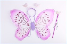 Fabric Angel Wings Nylon Butterfly Wings Costume Dresses Stick Fairy