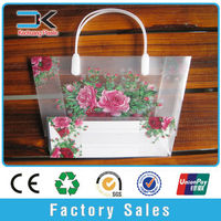 Clear transparent pp plastic tote bag for flower packing