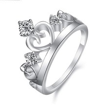 silver plated jewelry king and queen engagement and wedding ring