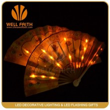 China flashing silk dancing fans,personalized business promotional gifts LED flashing silk hand fans