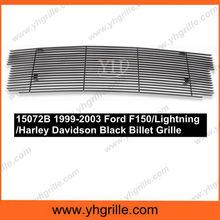 Fits 1999-2003 Ford F150/Lightning/Harley Davidson Main Upper Black Billet Aluminum Grille