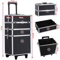 Aluminium beauty box case trolley make up cosmetic vanity case