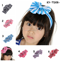 girls headband 2015 Knit cotton bow girls headband stripe