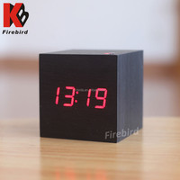 Customized Logo wooden standing antique table clock with calendar