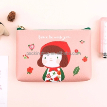 Pink floral PVC Cosmetic small hanging travel make up bag document bag
