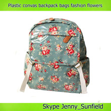 Vintage garden flowers plastic canvas backpack bags school backpack 9 styles