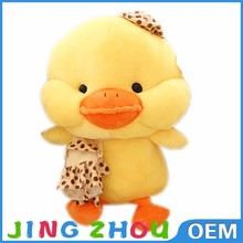 cute sweet yellow stuffed animals patterns,plush crane vending,plush duck with bowknot