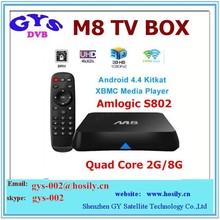 Android tv box 2gb ram 16gb rom Amlogic S802 M8 2.0GHz Quad Core Google TV Box XBMC 13.2 EM8