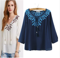 WOMEN COTTON BLEND EMBROIDERED LONG SLEEVE BLOUSE