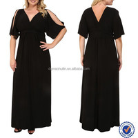 wholesale plus size maxi dress v neck cold shoulder short sleeve knit jersey maxi dress