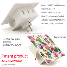 2015 New smart travel electrical adapter with 3 USB chargers 5V 3.6A