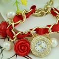 Moda cinta rosa colgantes pulsera reloj