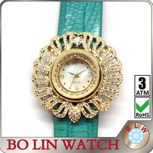 hot star watches, ladies/jewelry diamonds/brass case/japan movement/genuine leather strap/IPG/3 atm/quartz