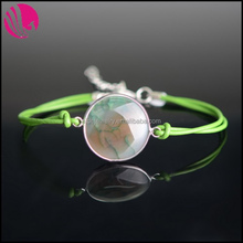 New Designer Rhodium Plated Alloy Leather Rope Natural Cyan Round Metal Wrap Agate Bracelets