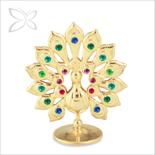 Extremely Good Outstanding Gold Plated Crystals Metal Iron Peacock