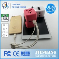 JS-A003 fashionable electronic gifts double USB AC/DC Power Plug Convert EU US AU to UK Plug