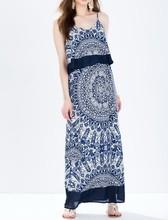 Custom desig bohemian printing maxi dress fashion long muslim evening dress