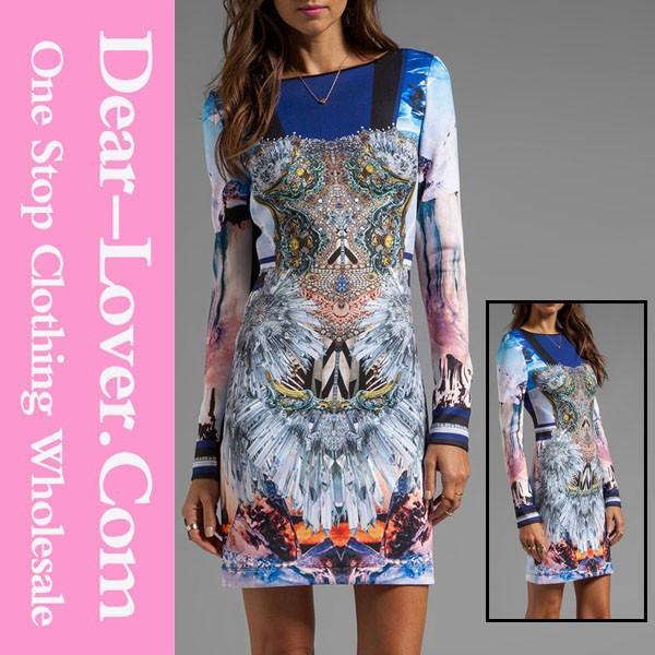تصميم مثير النساء ضئيلة 2015 الكبار كم طويل لون فستان طباعة التباين