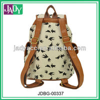 Animal printed canvas Fashion Backpack With Leather Trim