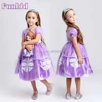Wholesale cartoon character sofia fancy dress, sofia party costume for girls
