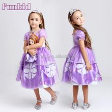 Wholesale cartoon character sofia fancy dress, sofia party costume for girls