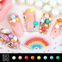 Japanese popular 5mm candy color flatback half round nail art pearl for decoration