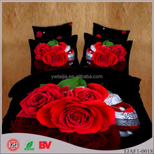 Asia 2015 new 3D bedding set/bedsheet set Big rose dark design with printing