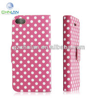 New arrival Polka Dot style Leather case For iphone 5'' Mobile Flip Cover