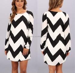 custom made black and white stripe new model girl dress 2015 new model casual dresses korean models dress Spandex polyester