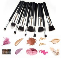 Professinoal Large Kabuki Brush 10pcs Black Sliver Brushes