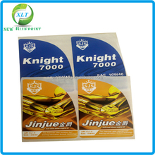 High quality full color die cut vinyl sticker in sheets, strong adhesive stickr label for engine oil plastic bottle