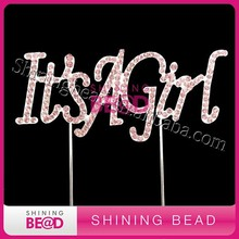 sparkling pink rhinestone cake topper--it's a girl for wedding favors